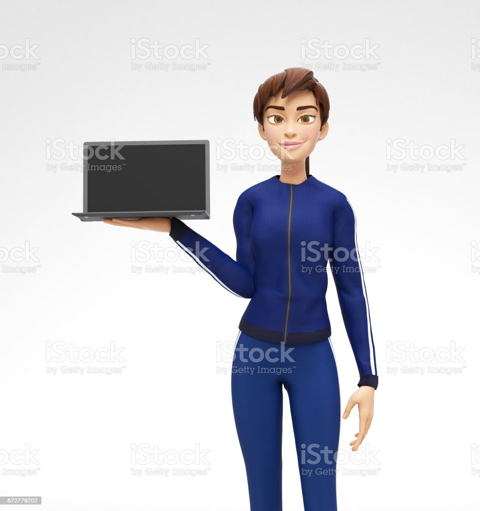 Laptop Mockup With Blank Screen Held by Smiling and Happy Jenny - 3D Cartoon Female Character in Sports Suit vector art illustration