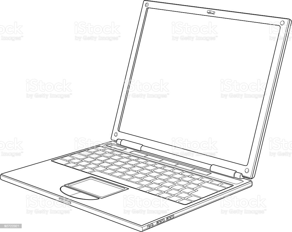 Laptop outline vector illustration royalty-free stock vector art