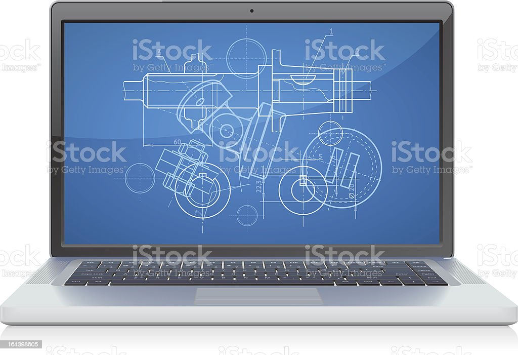 Laptop with blueprint royalty-free stock vector art