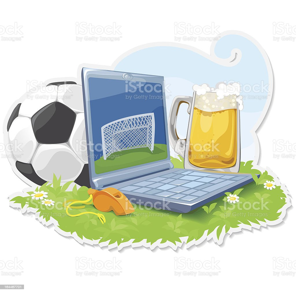 Laptop With The Attributes Of Sport And Beer royalty-free stock vector art