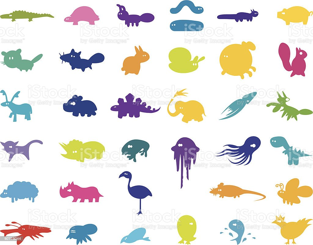 Large Collection of Stylised Animals royalty-free stock vector art
