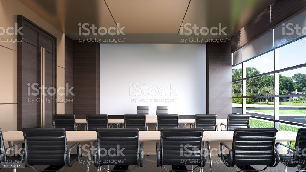 Large conference room in hotel , 3d rendering vector art illustration