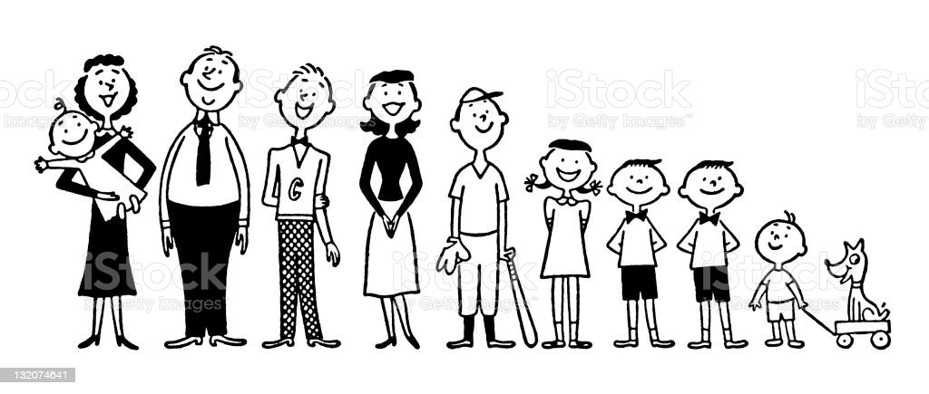 Large Family royalty-free stock vector art