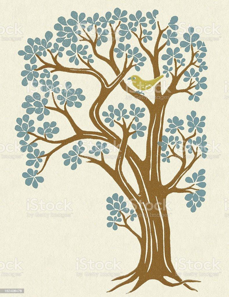 Large Flowering Tree vector art illustration