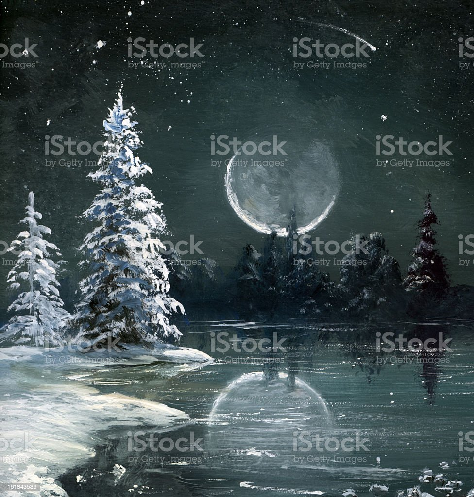 Large moon featured in a winter scene royalty-free stock vector art