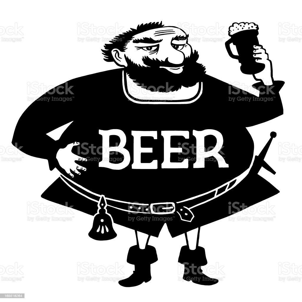 Large Scottish Man Drinking Beer vector art illustration