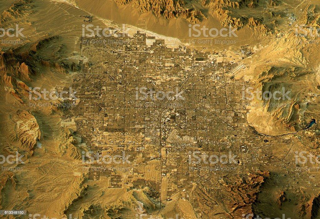 Las Vegas 3D Landscape View South To North Natural Color vector art illustration