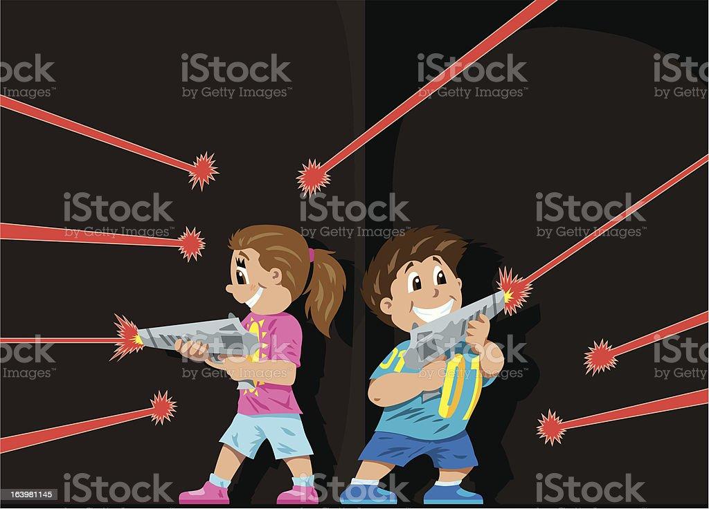 Laser Tag kids royalty-free stock vector art
