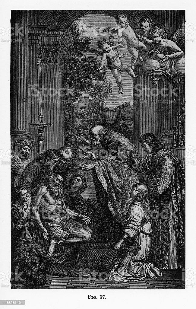 Last Communion of St. Jerome Christian Engraving vector art illustration