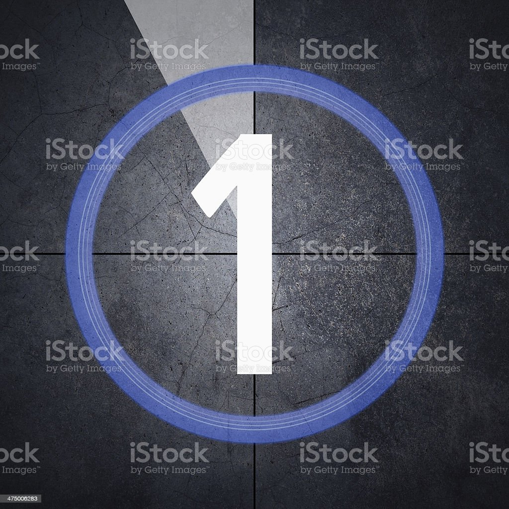 Last minute with number one on grunge background - cold stock photo