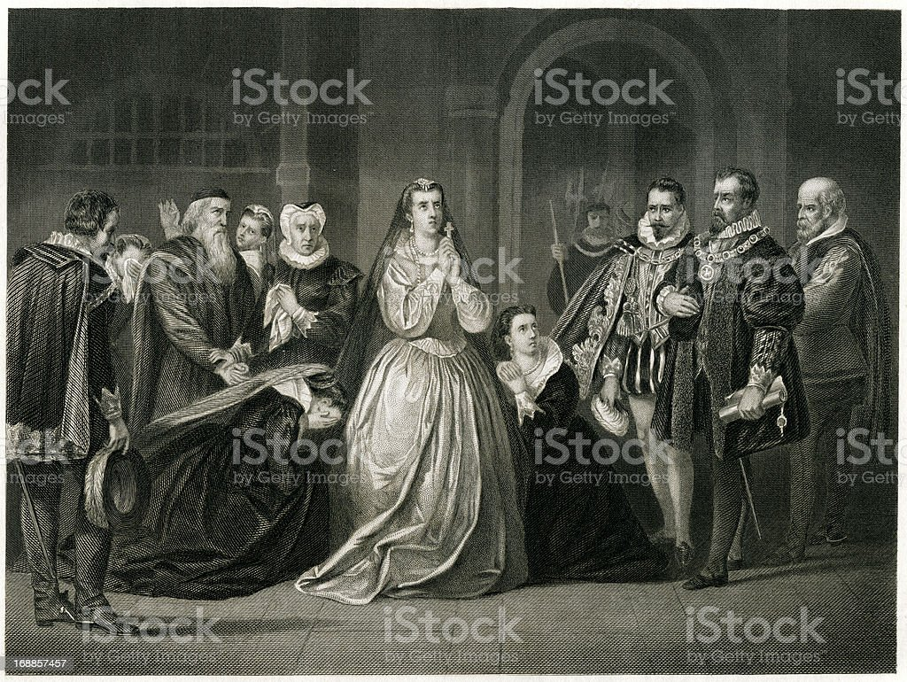 Last Moments For Mary Queen Of Scots vector art illustration