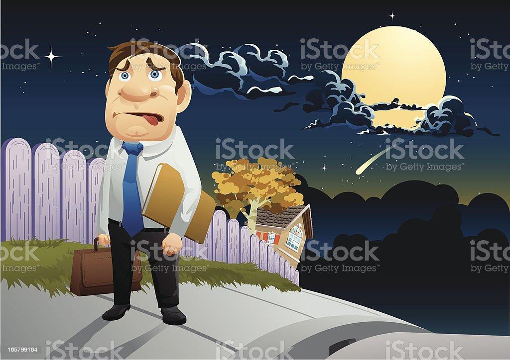 late night worker vector art illustration