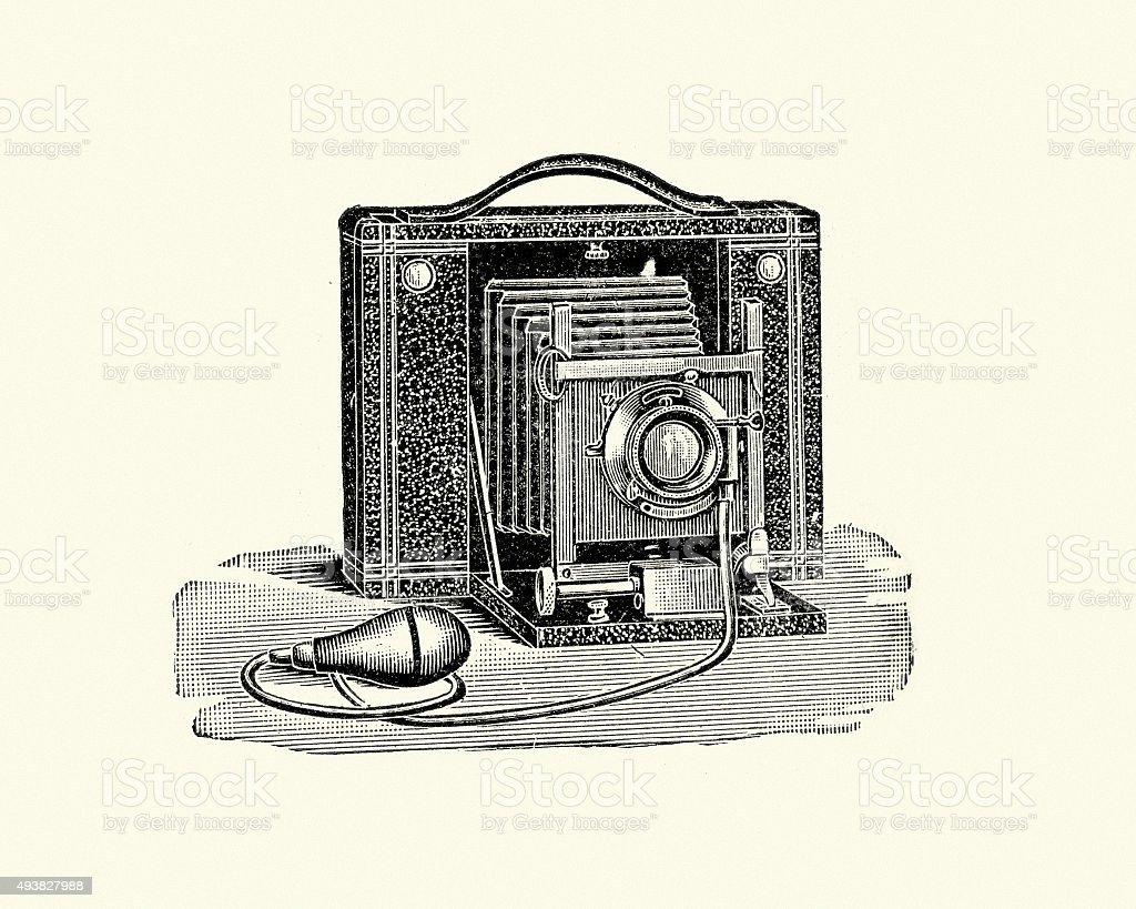 Late Victorian Camera vector art illustration
