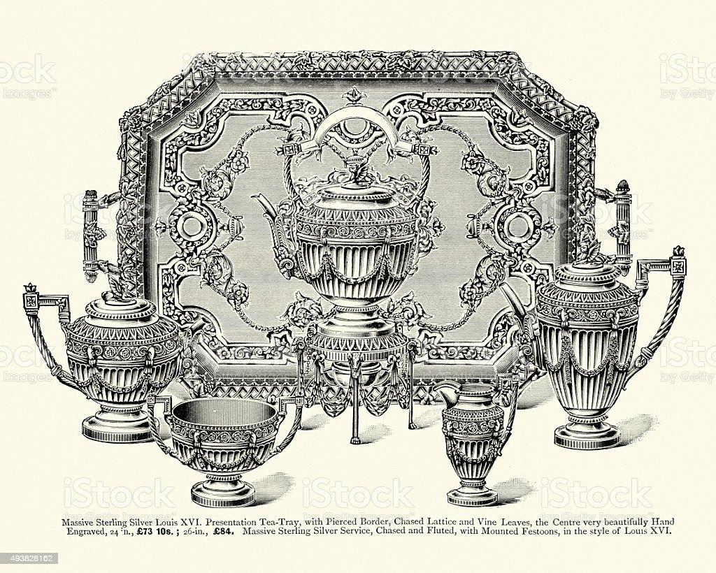 Late Victorian Fashion - Silverware vector art illustration
