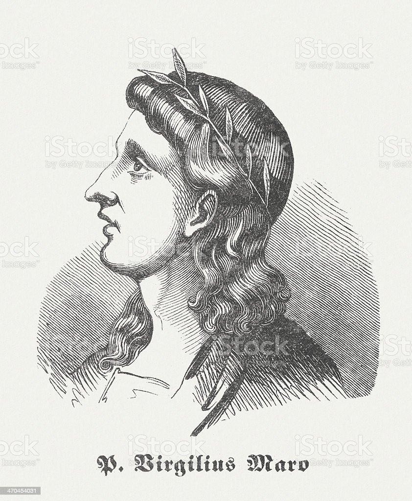 Latin poet Vergil (70 BC-19 BC), wood engraving, published 1864 vector art illustration