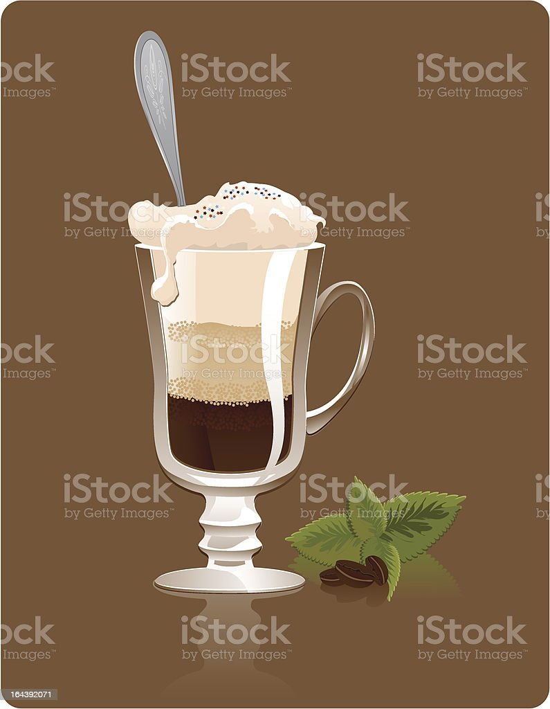 Latte with cream and mint royalty-free stock vector art