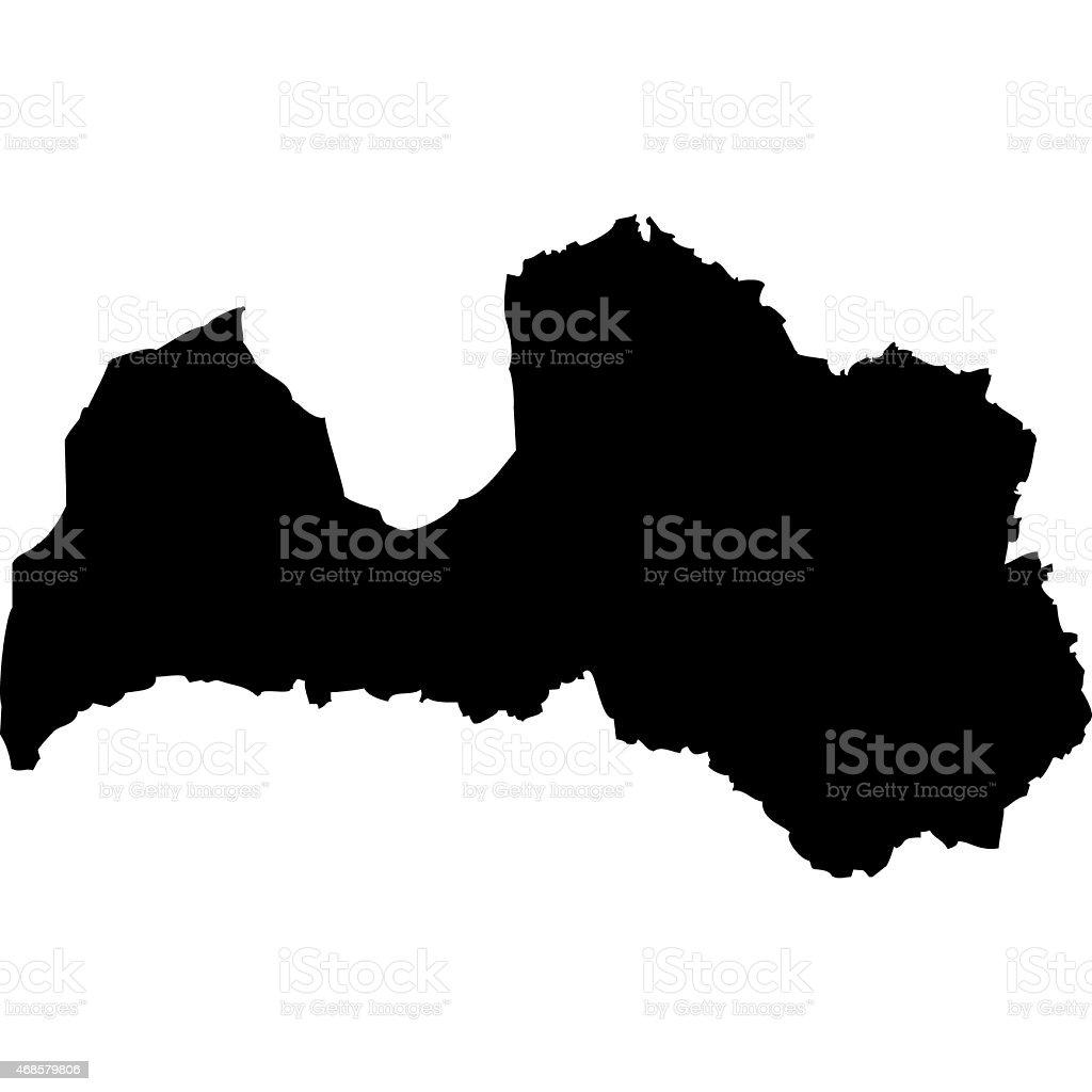 Latvia map vector art illustration