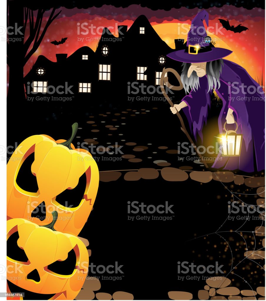 Laughing pumpkin head and old witch royalty-free stock vector art