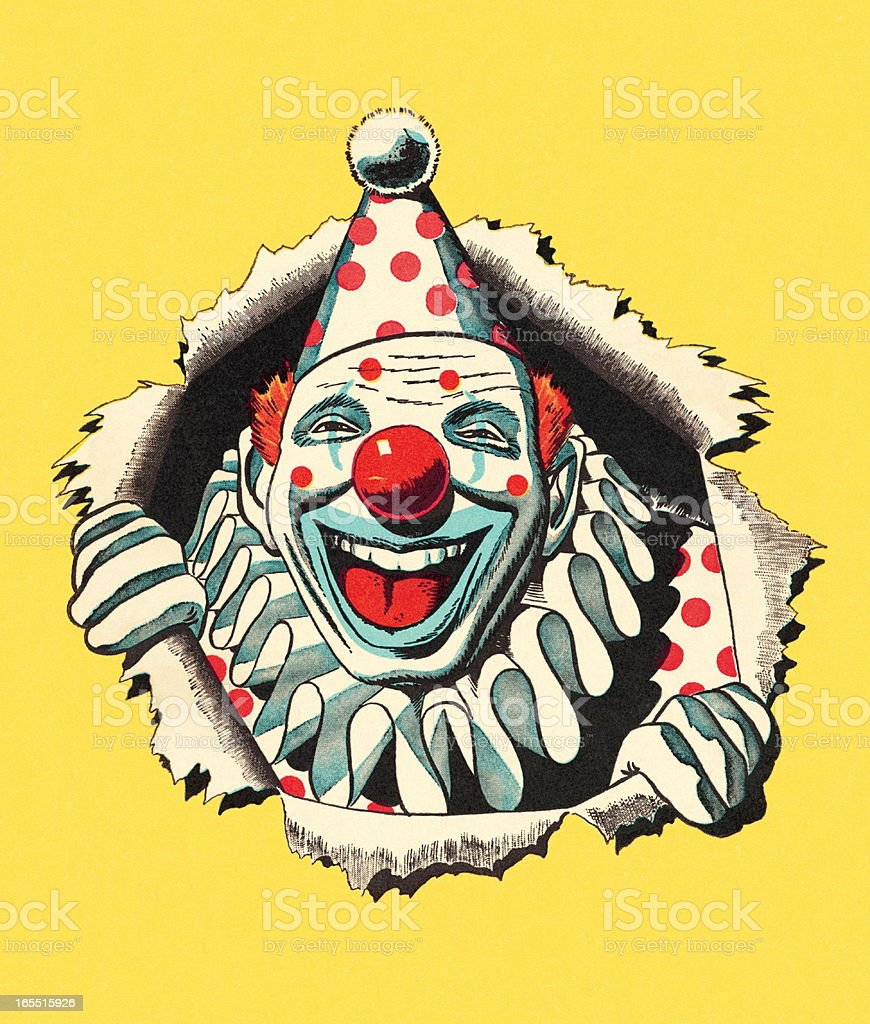 Lauging Clown vector art illustration
