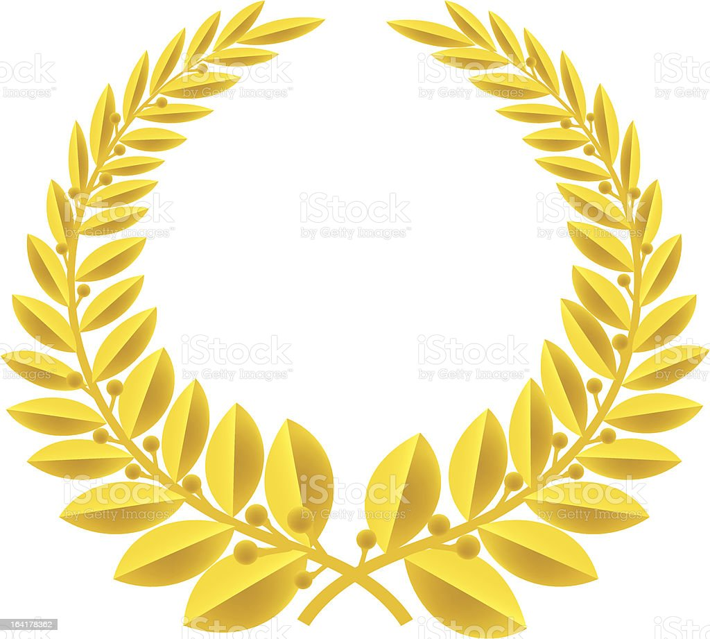 laurel wreath gold (vector) vector art illustration