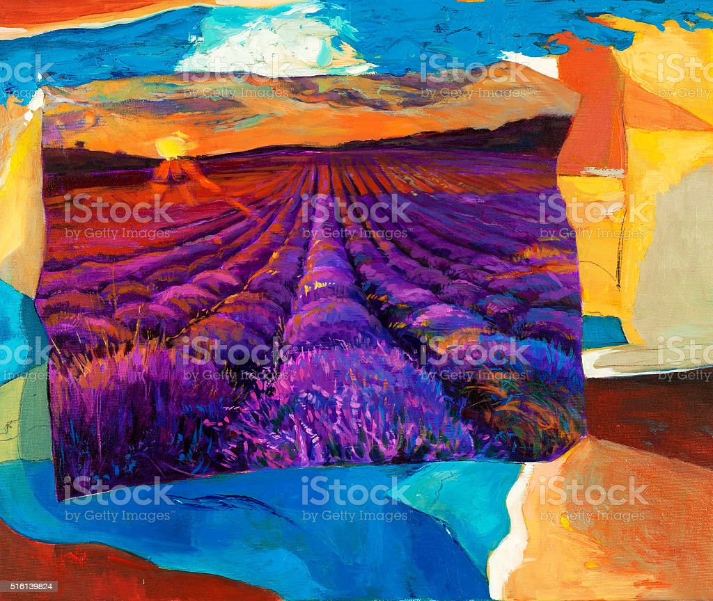 Lavender fields vector art illustration