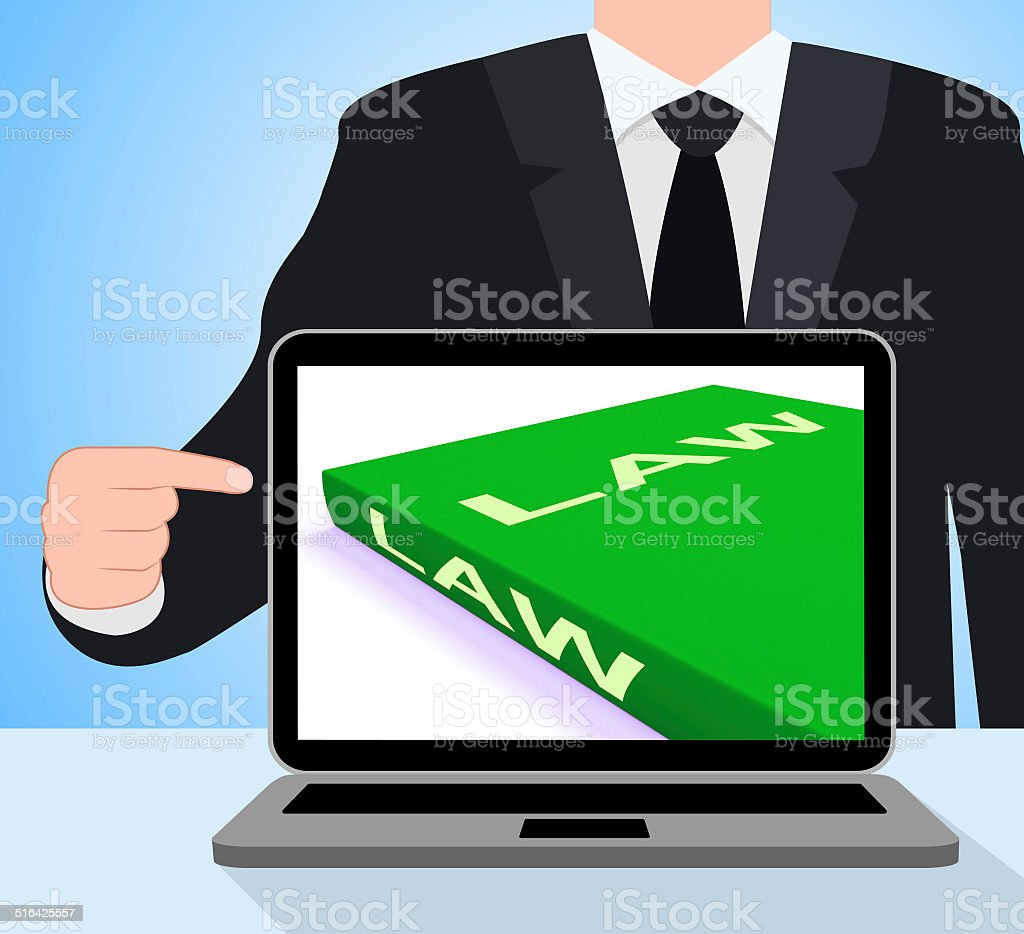 Law Book Laptop Shows Books About Legal Justice vector art illustration
