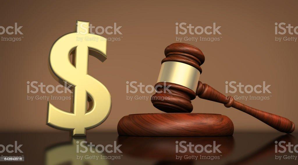 Law Concept Gavel And Dollar Symbol vector art illustration