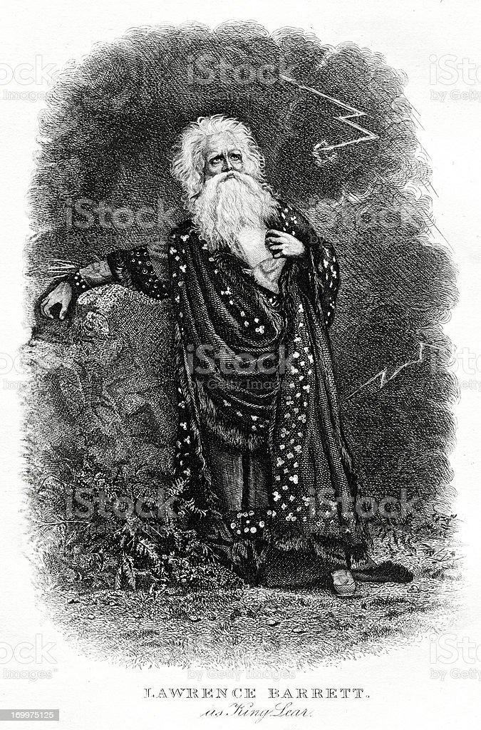 Lawerence Barrett As Shakespeare's King Lear vector art illustration