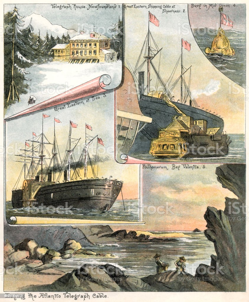 Laying the Atlantic telegraph cable vector art illustration