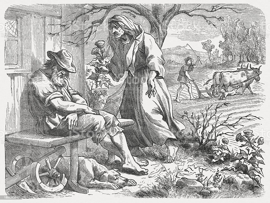 Laziness (Proverbs of Solomon 6), wood engraving, published 1877 vector art illustration