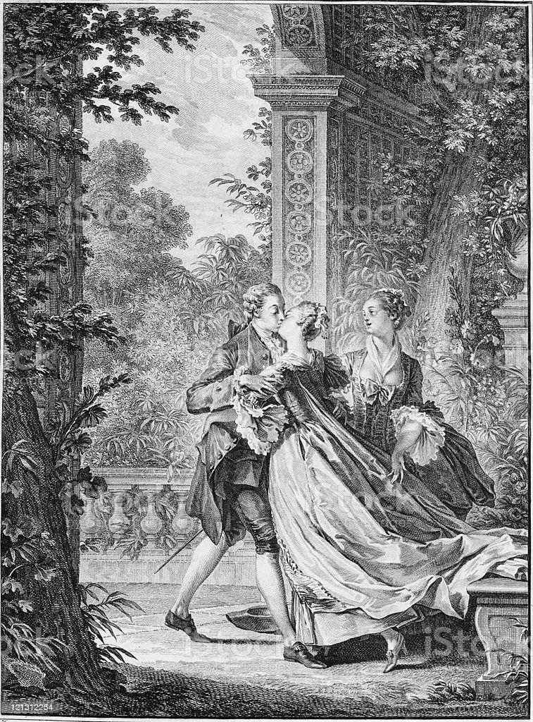 Le premier baiser de l'amour. royalty-free stock vector art
