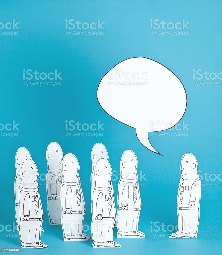 Leader speaking to his team royalty-free stock vector art