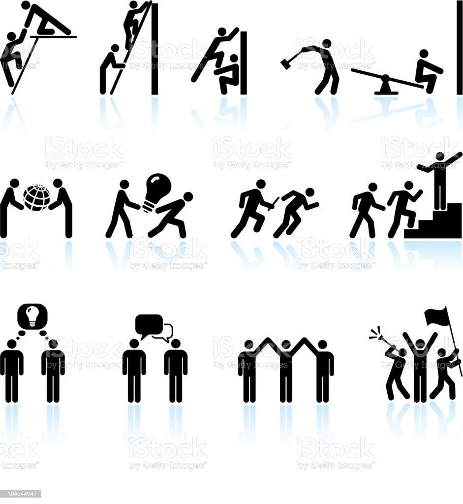 Leadership and Teamwork black & white vector icon set vector art illustration