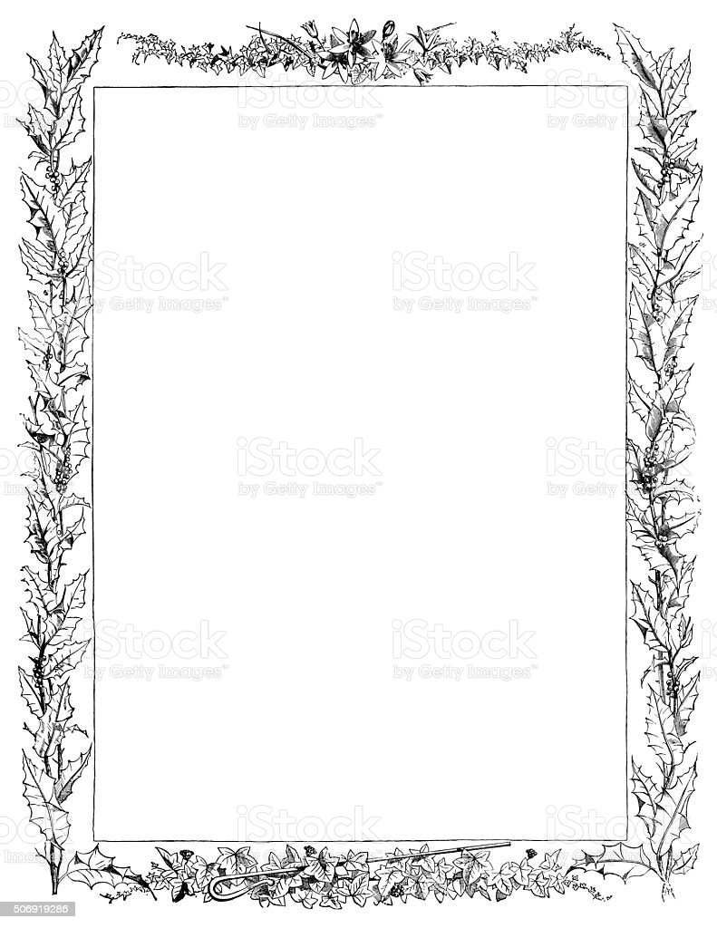 Leaf border with holly vector art illustration