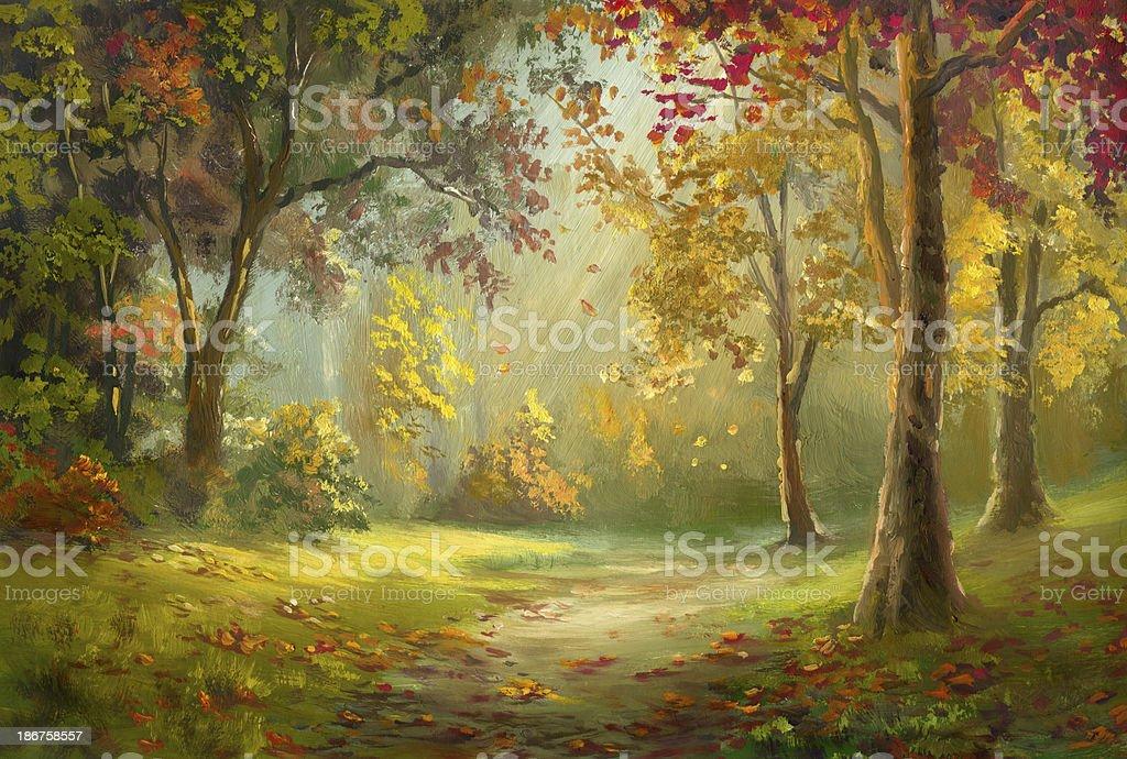 Leaf fall vector art illustration