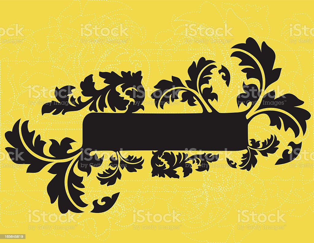 leafy scroll banner royalty-free stock vector art