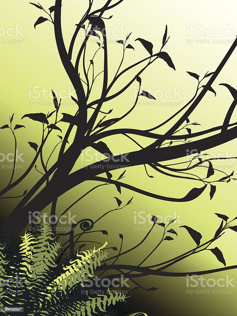 Leafy tree with ferns royalty-free stock vector art