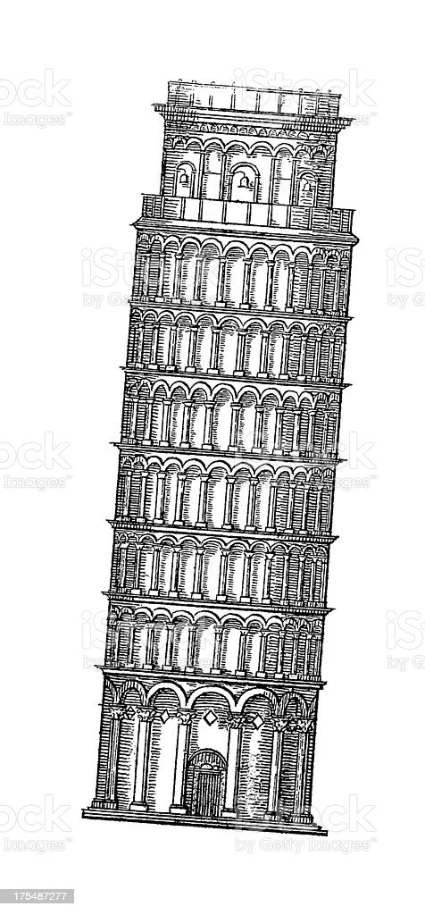 Leaning Tower of Pisa, Italy | Antique Architectural Illustrations royalty-free stock vector art