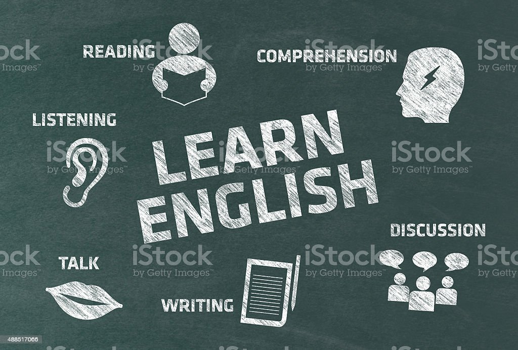 Learn English Concept with Icons on Blackboard vector art illustration