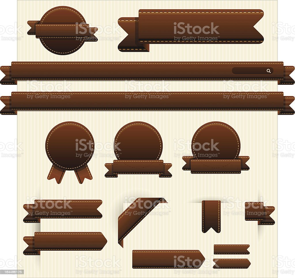 Leather Style Web Elements vector art illustration