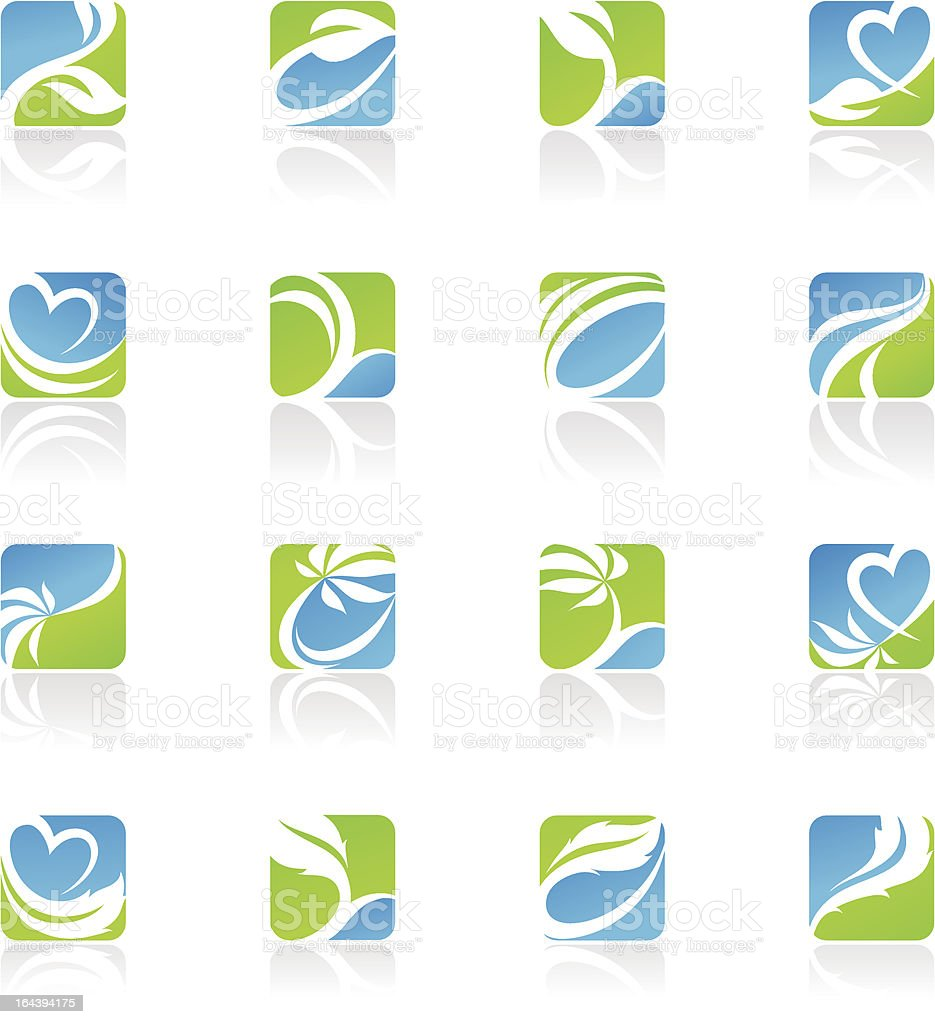 Leaves. Abstract icons. royalty-free stock vector art