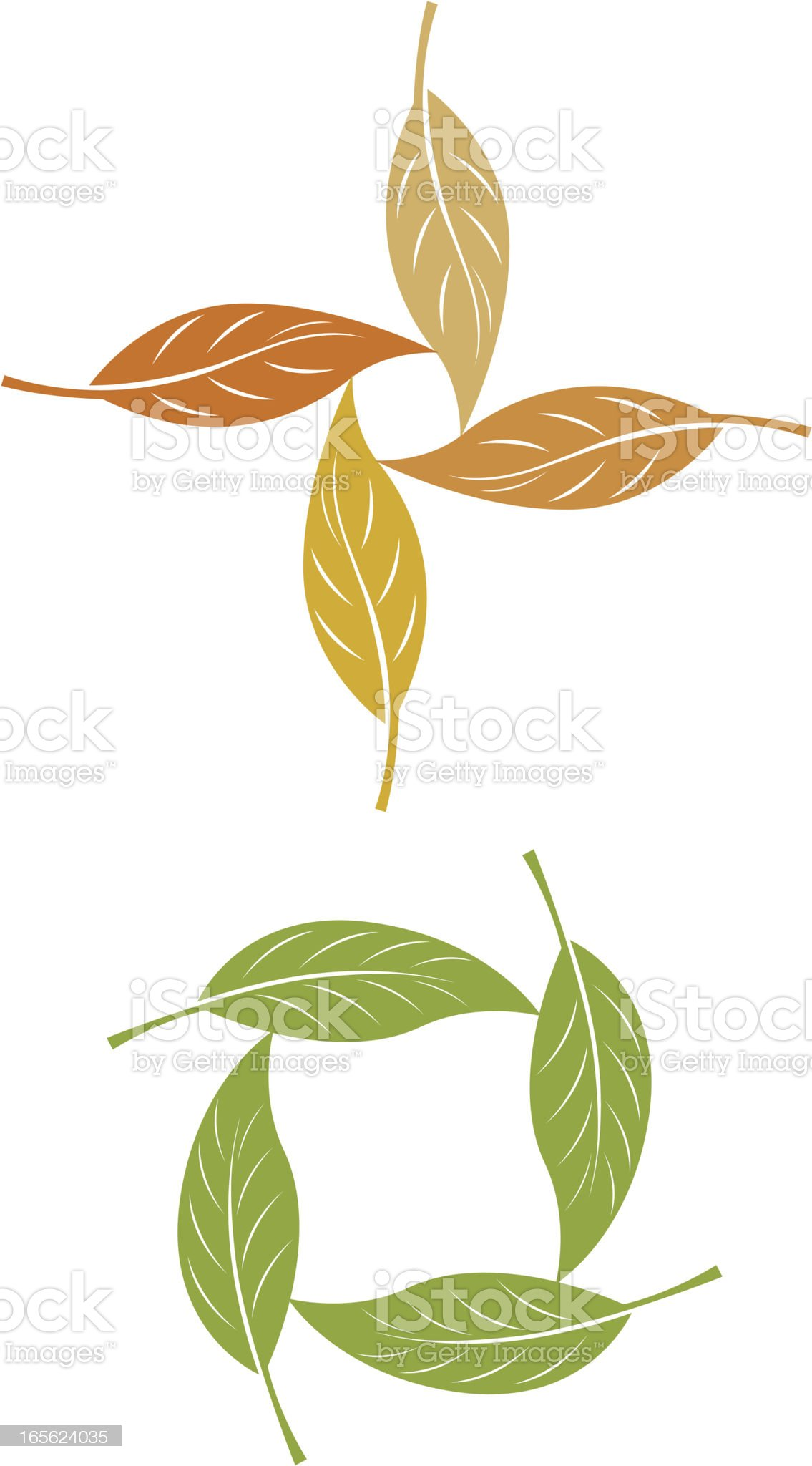 Leaves in a circle royalty-free stock vector art