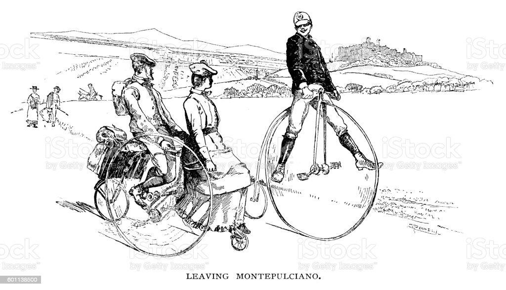 Leaving Montepulciano vector art illustration