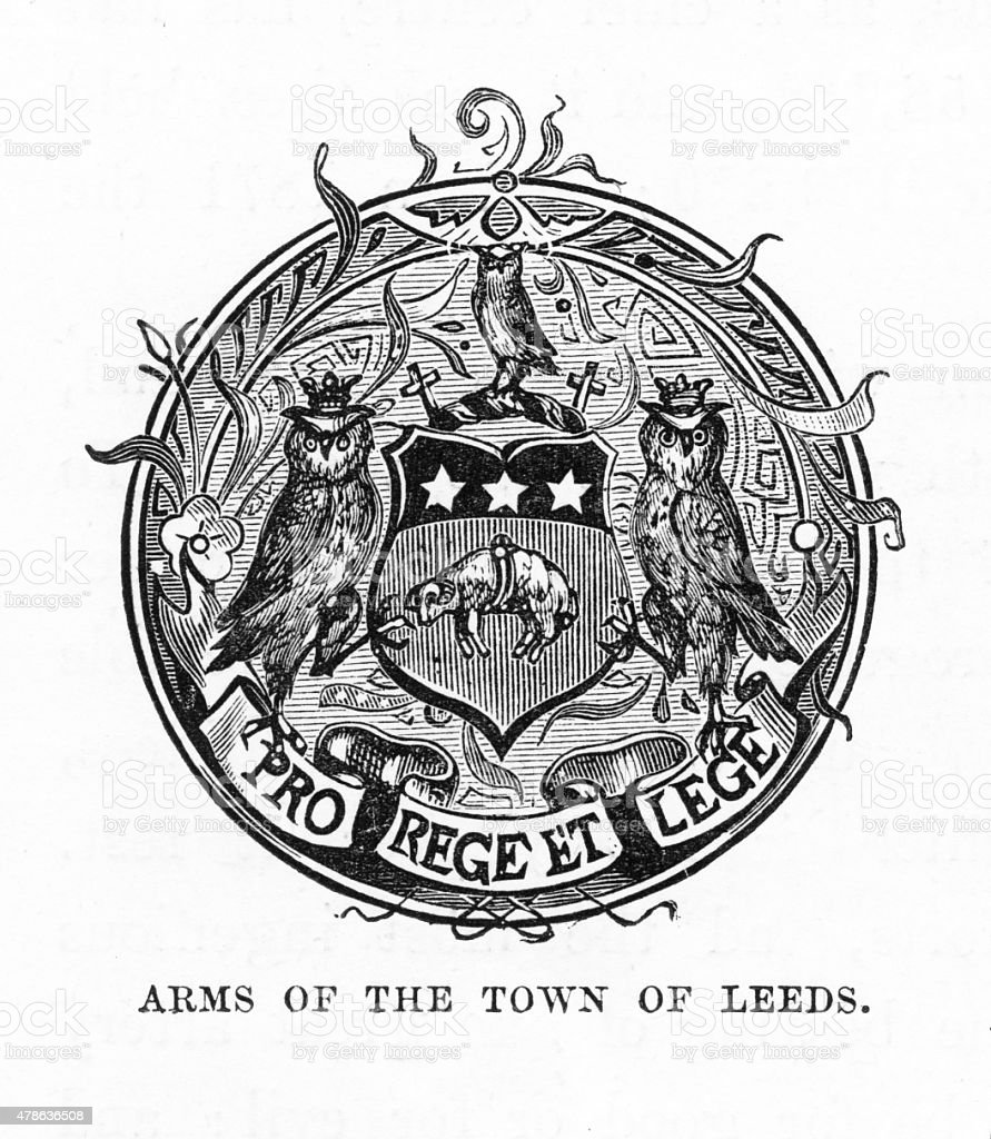 Leeds, England Coat of Arms Victorian Engraving vector art illustration