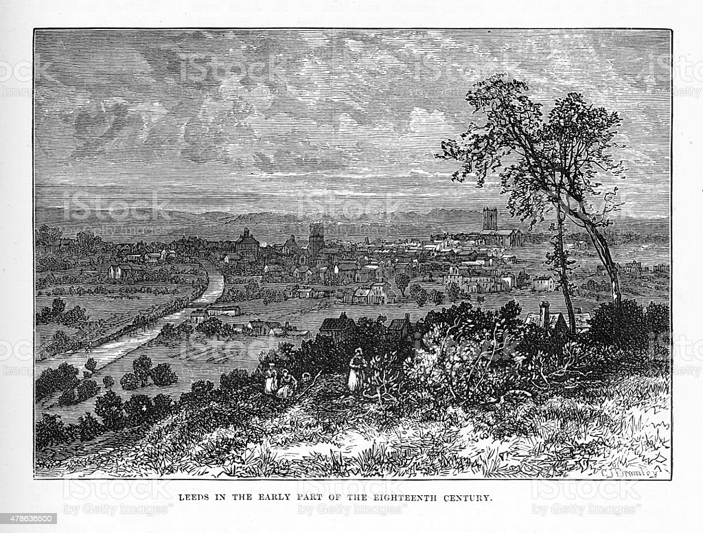 Leeds, England in the Early 18th Century Victorian Engraving vector art illustration
