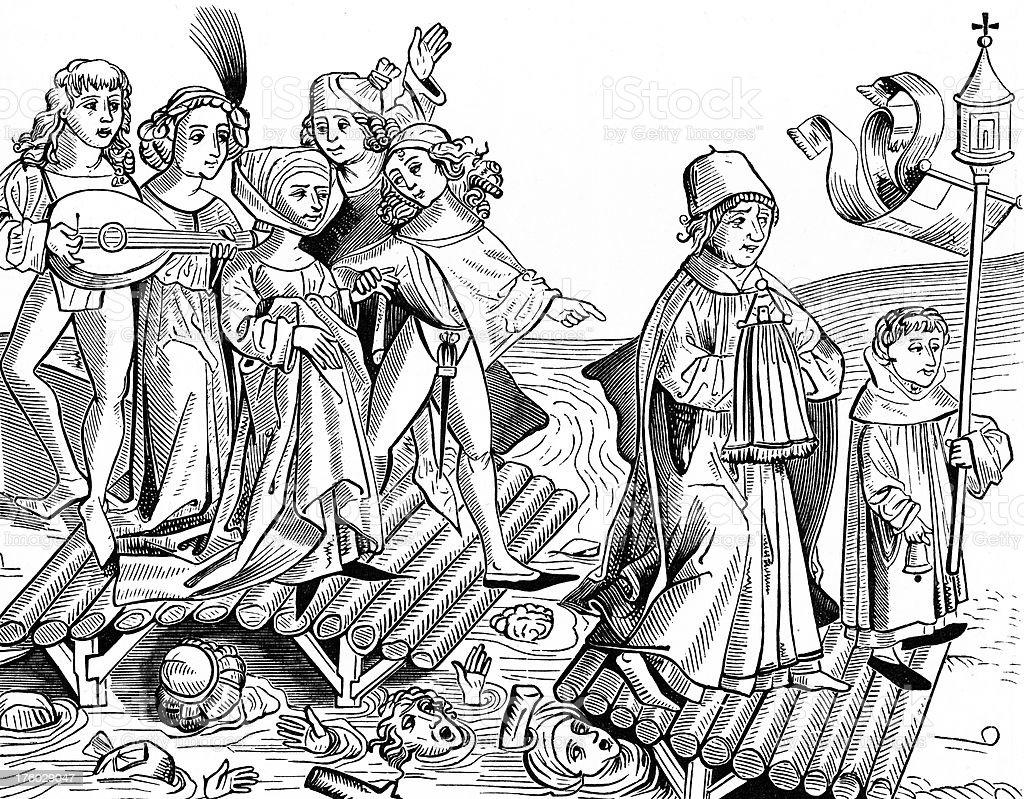 Legend of the Viaticum Crossing a Wooden Bridge, 1277 vector art illustration