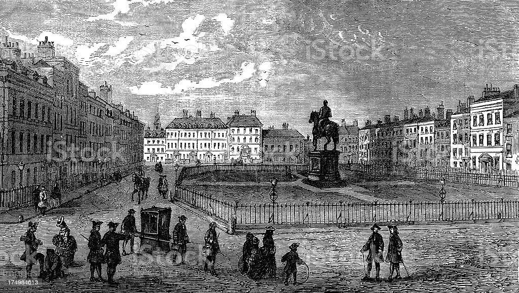 'Leicester Square, London, 1750, statue King George IV (illustrat' vector art illustration