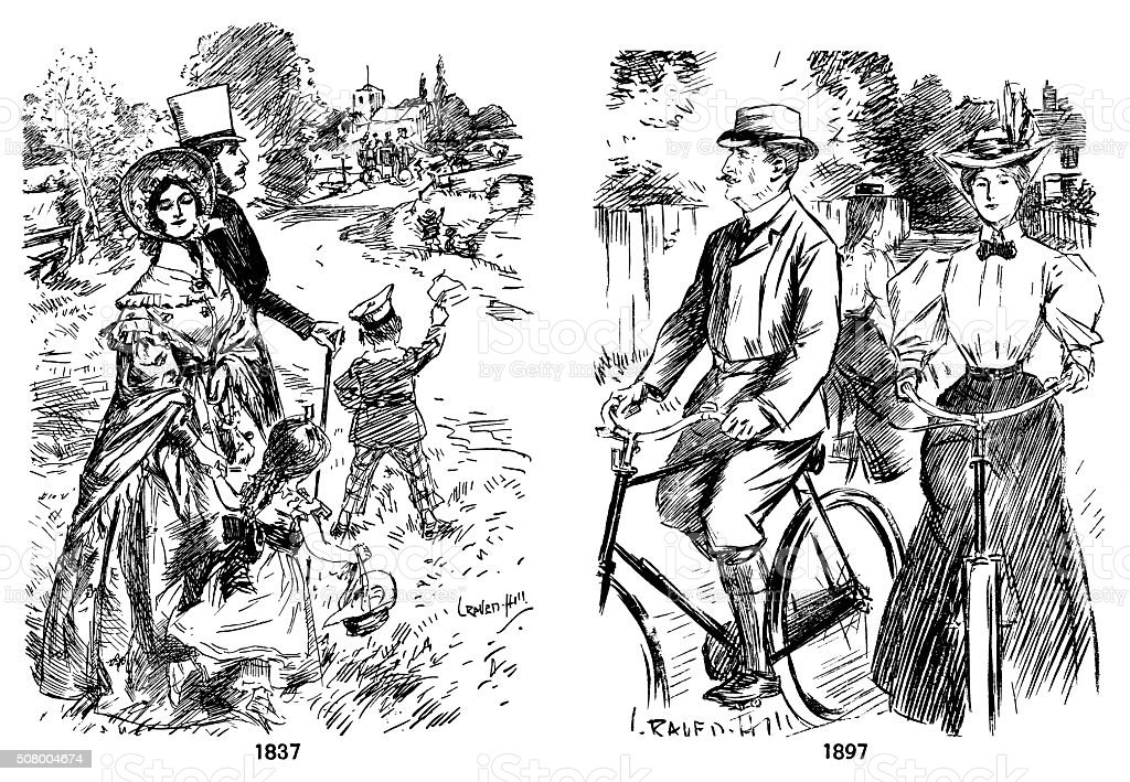 Leisure fashions 1837 and 1897 vector art illustration