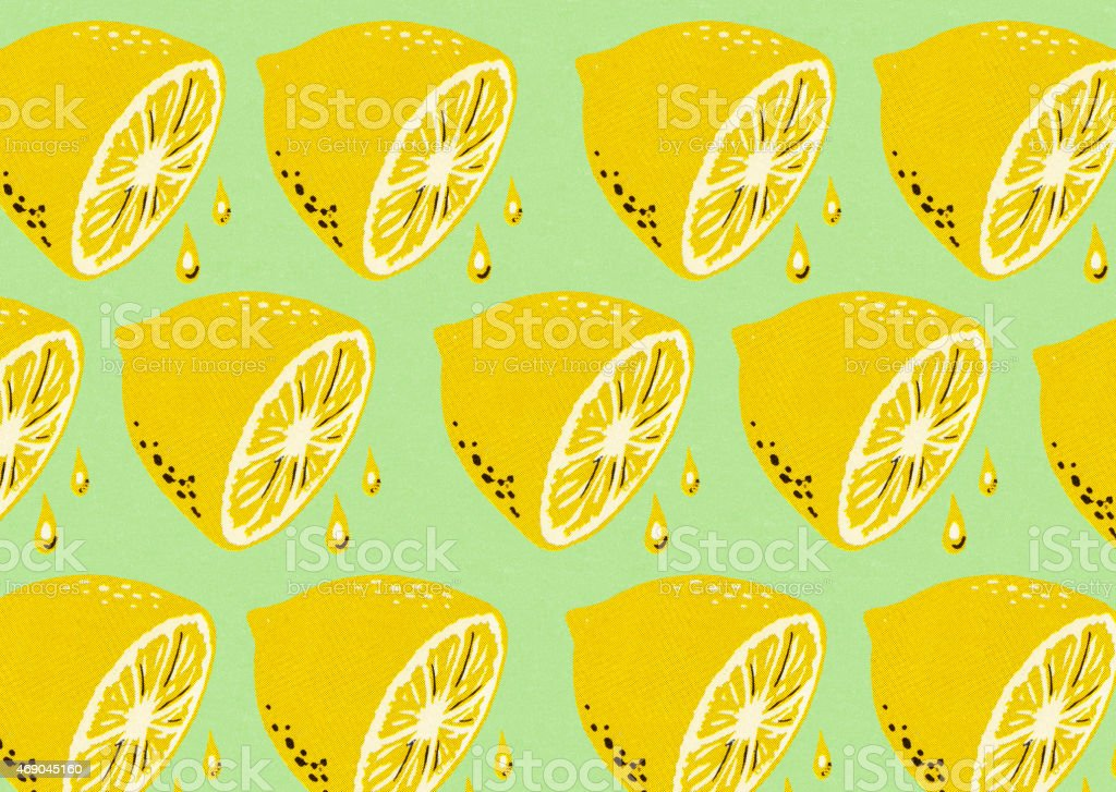 Lemon Halves Pattern vector art illustration