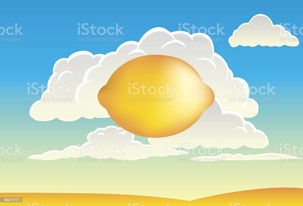 Lemon in the sky vector art illustration